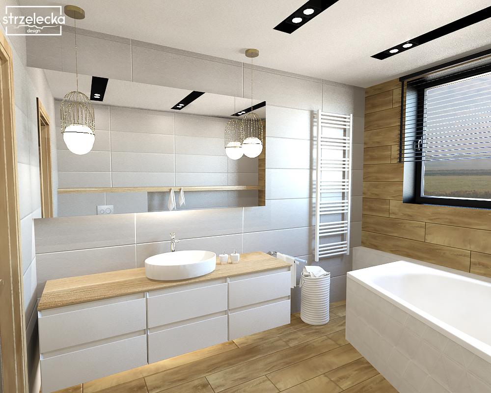 Drewno i biel w małej łazience – efektownie i wygodnie ...
